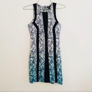 Ombré gradient floral dress